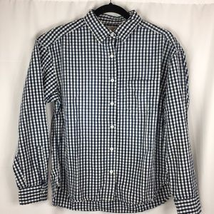 UNIQLO Women's blue and white Button-up Shirt